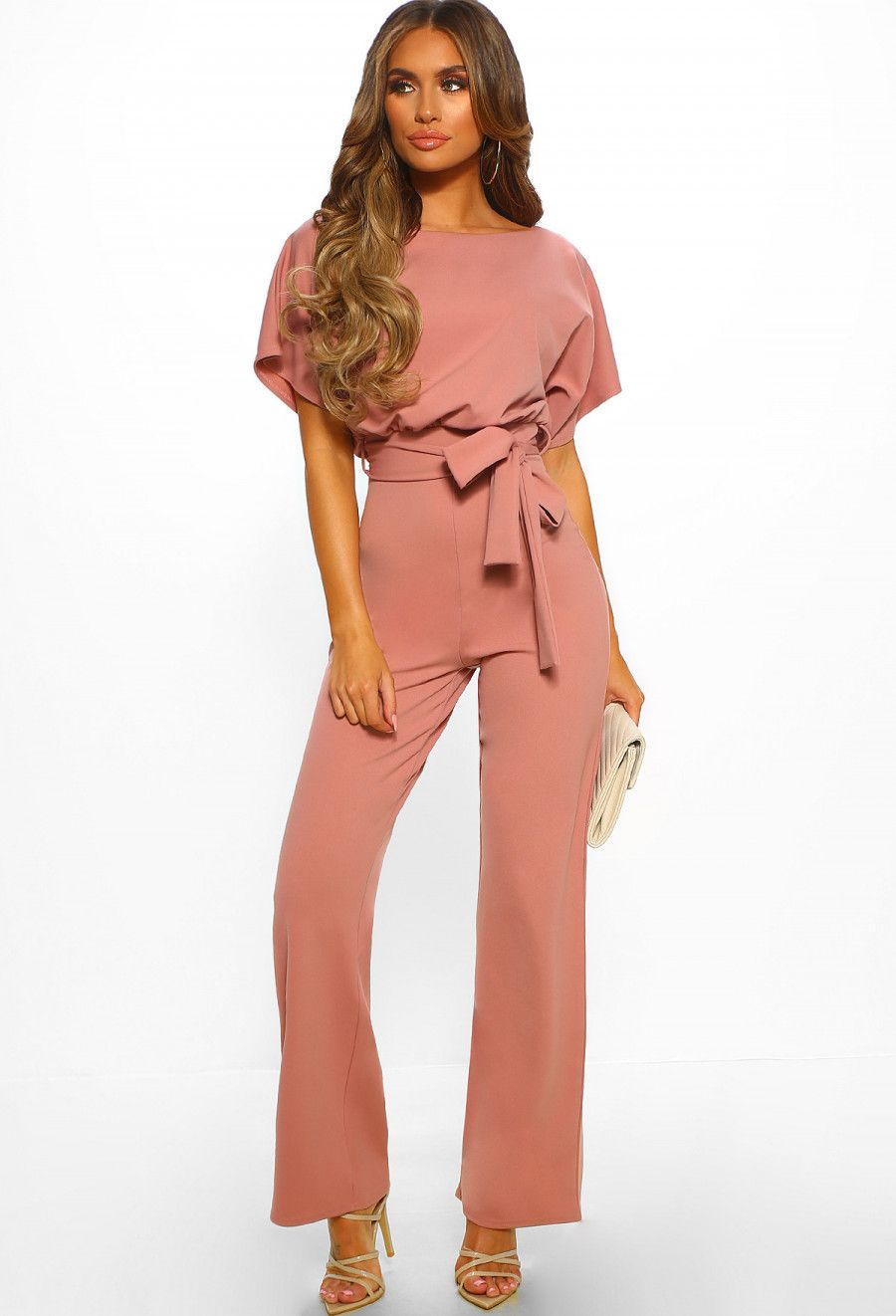 22a1a853486 Oh So Glam Rose Pink Belted Wide Leg Jumpsuit - 10 in 2019