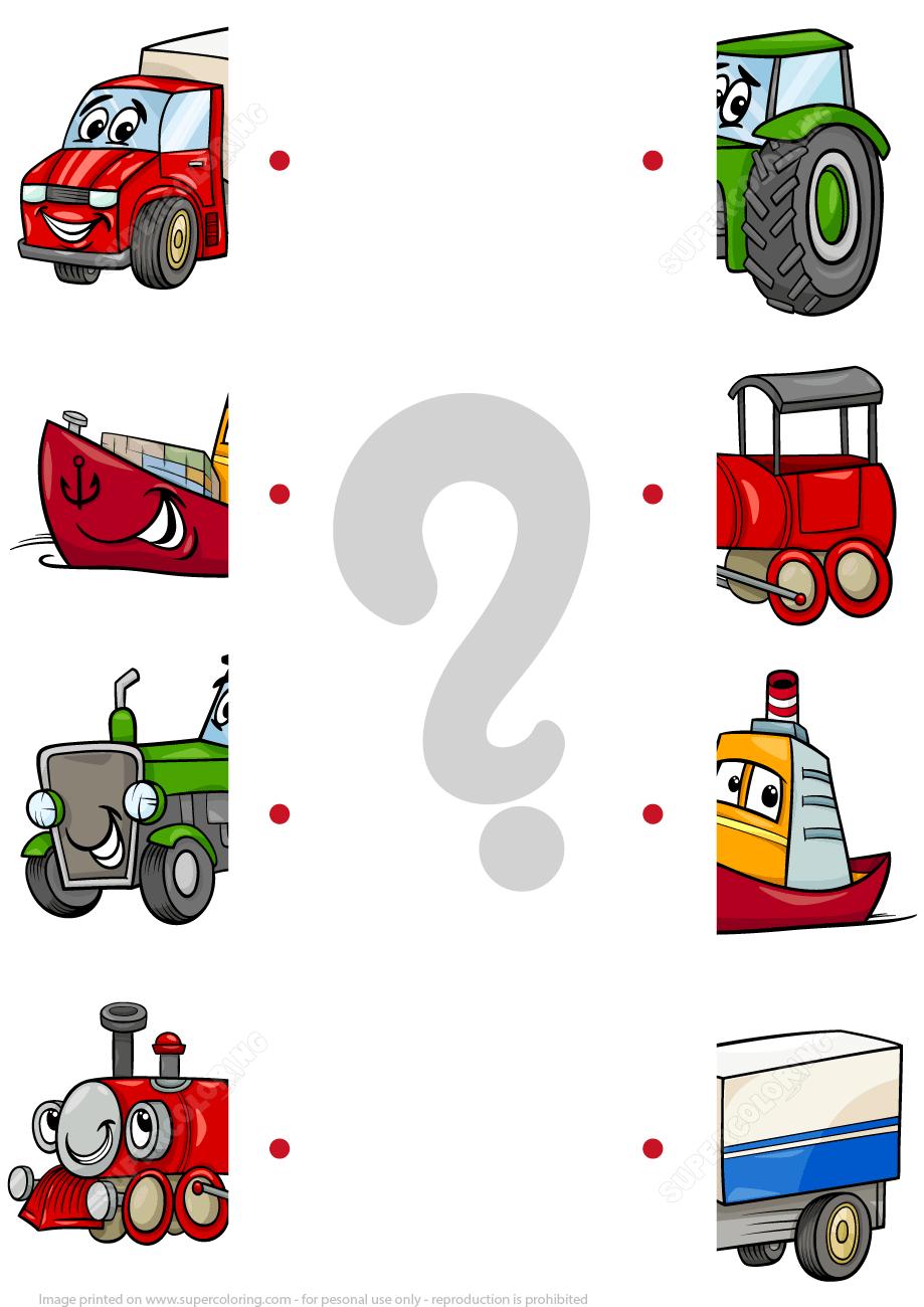 Matching Halves Worksheet With Cartoon Transport Super Coloring Transportation Preschool Preschool Learning Activities Toddler Learning Activities [ 1300 x 919 Pixel ]
