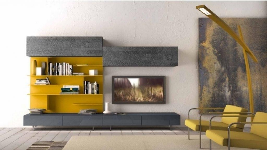 moderne wandregale wohnzimmer gelbe akzente modulare wandregal - deckenleuchten wohnzimmer landhausstil