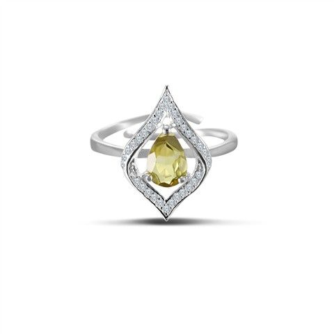 This Ring is set with Green tourmaline, White zirconia and crafted in Solid 925 Sterling Silver. Adjustable ring size.<br/><br/>Priced per 1