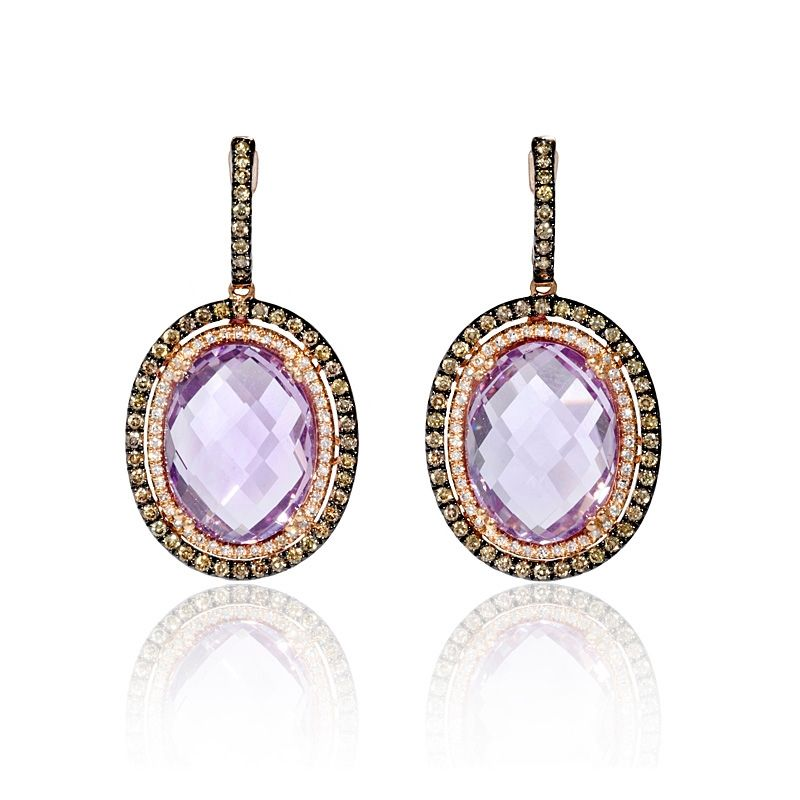 This Stylish Pair Of 14k Rose Gold Dangle Earrings Feature 2 Pink Amethyst Stones Weighing 20 03 Carats Total And 88 Round Brilliant Cut White Diamonds