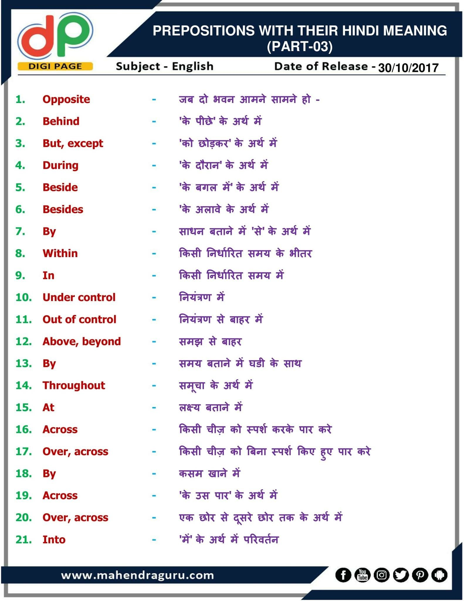 Dp prepositions with their hindi meaning for ibps clerk also pin by mahendra guru on free study material english vocabulary rh pinterest
