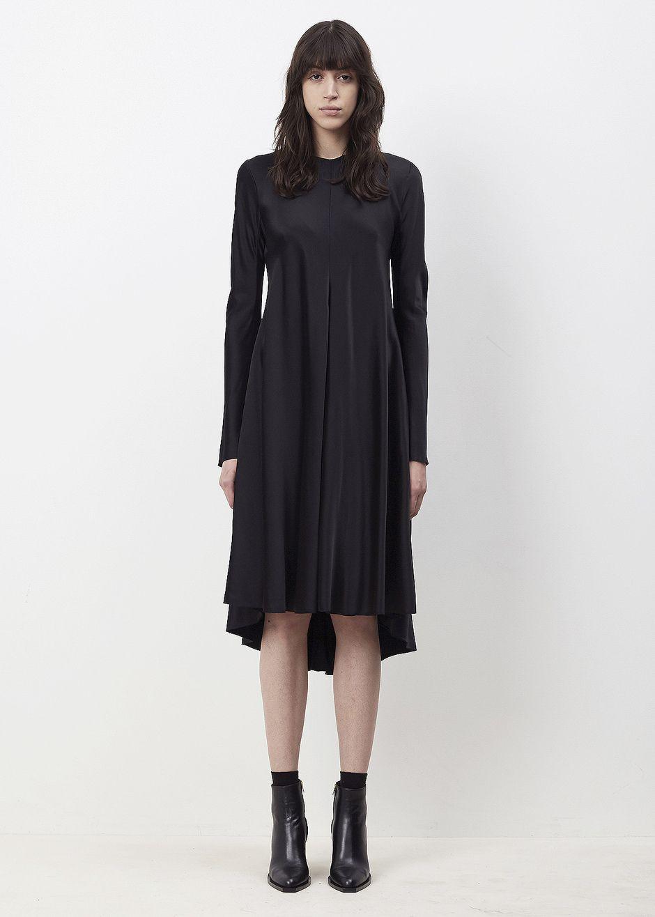 Yang Li Long Sleeve Asymetrical Hem Dress (99 Black)