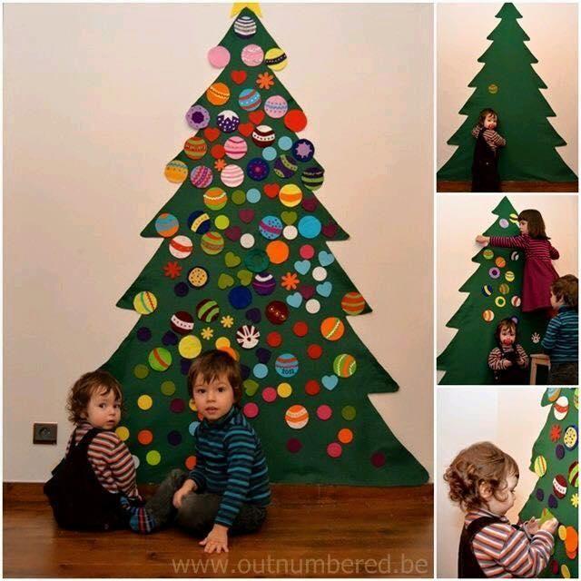 Arboles de fieltro y nacimiento para la pared nacimiento - Manualidades de navidad para ninos pequenos ...