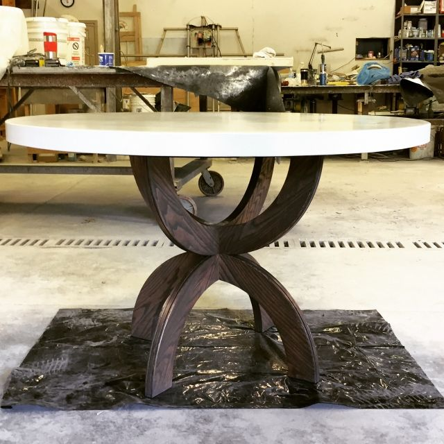 48 Round 1 Thick White Concrete Dining Table Top With Base Made Of Ash And  Stained With Weathered Gray. Shipping Costs Are Estimated.
