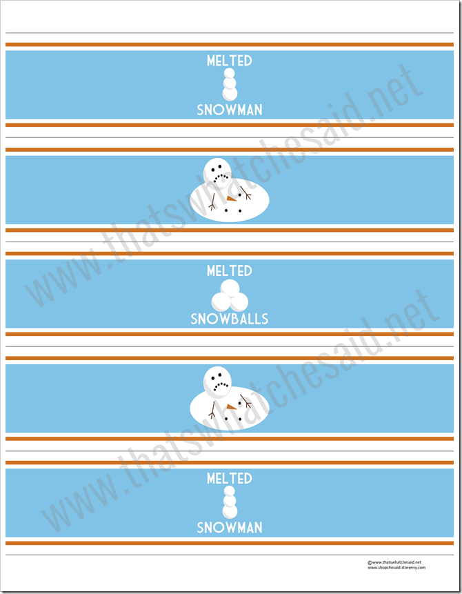 Free Melted Snowman Water Bottle Labels From Thatswhatchesaid Net