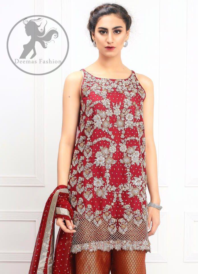 c16220ebeda41a Bridemaid Dresses - Deep Red Embroidered Short Shirt - Rust Jamawar Palazzo