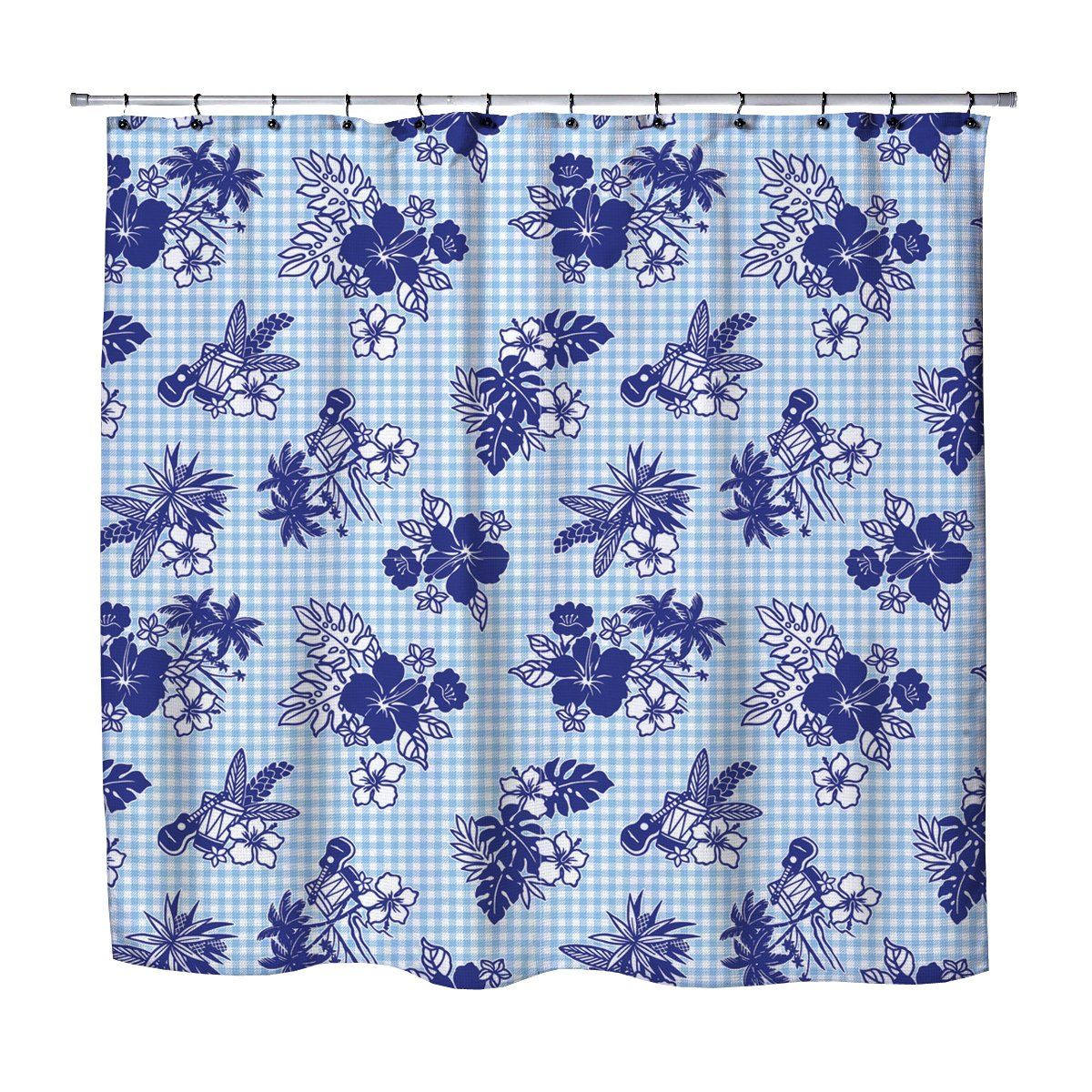 Baby Blue Gingham Vintage Hawaiian Style Shower Curtain Hawaiian