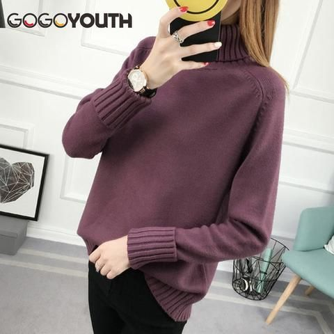 9814af8717 Gogoyouth Winter Sweater Women Turtleneck 2018 Long Sleeve Tricot Women  Sweaters And Pullovers Female Knitted Jumper Jersey Tops