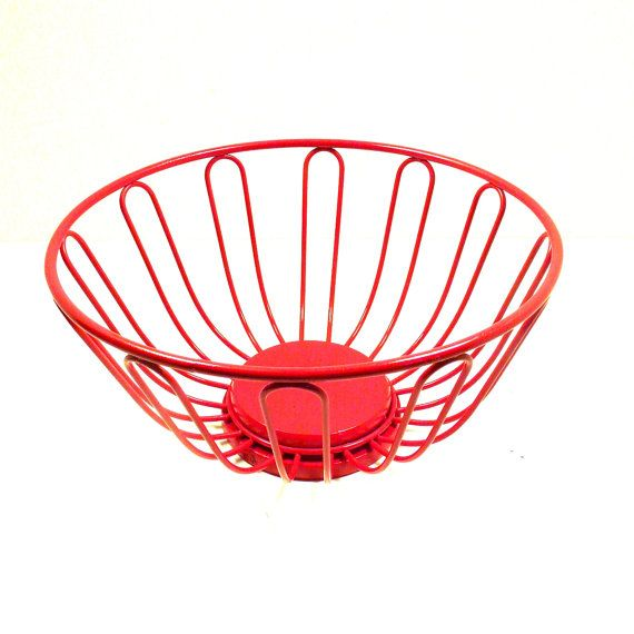 Red Wire Basket Retro Decor Kitchen Fruit Bowl Baskets Bowls Upcycled Home Vintage