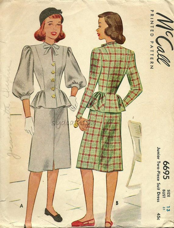 Vintage 1940s Pattern Button Front Peplum Dress Balloon or Tapered Sleeves 1946…