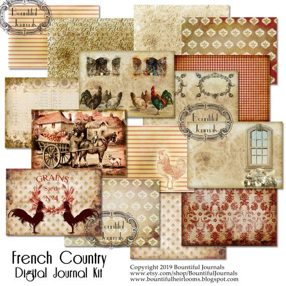 Junk Garden Ideas 2018 Edition: French Country Digital Journal Backgrounds Kit; Junk