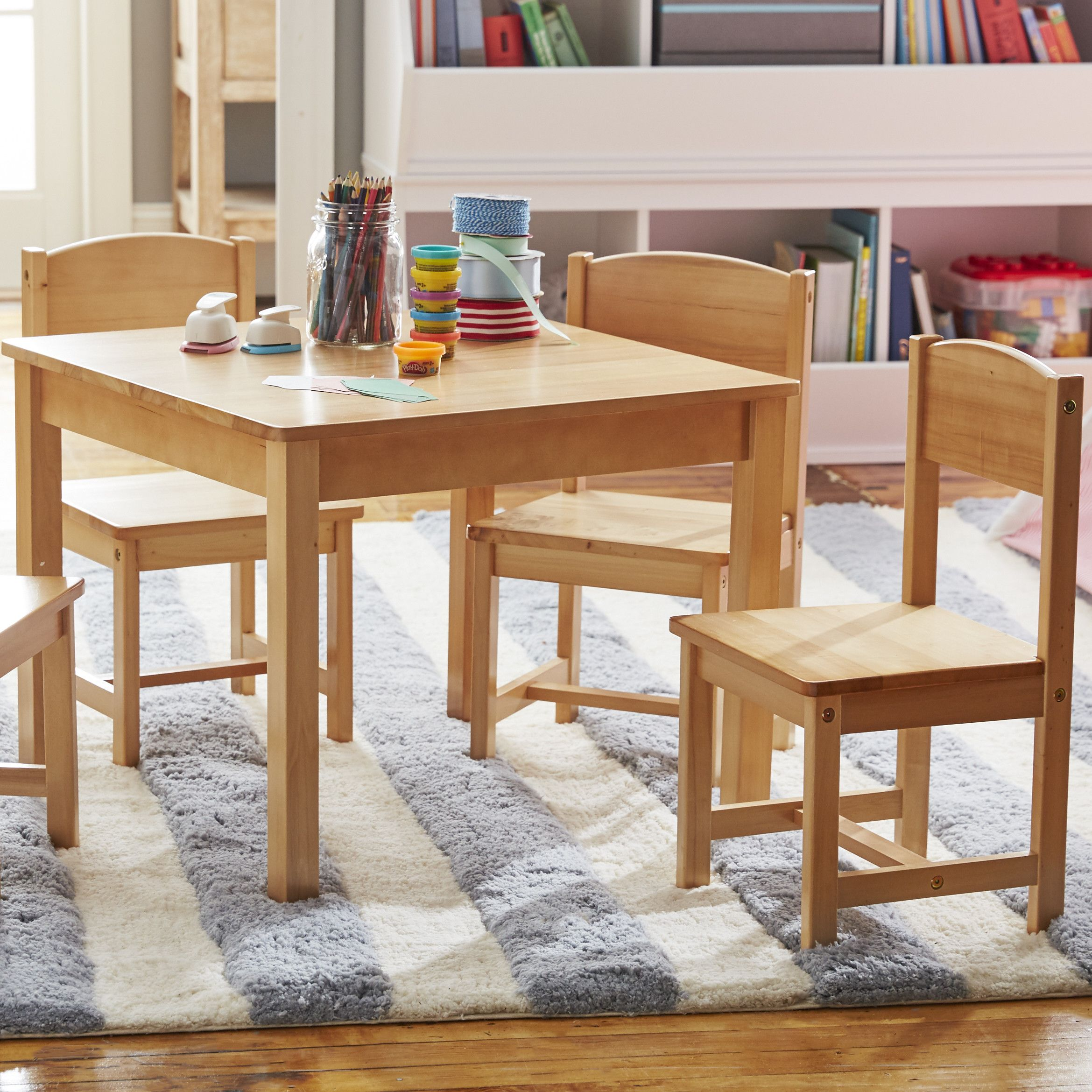 Farmhouse Kids 5 Piece Square Table and