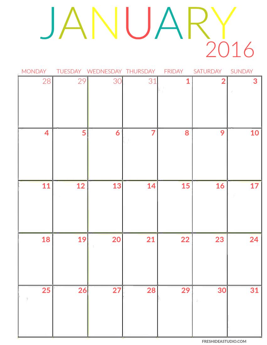 Fresh Idea Studio Diy Life Style Design Printable Calendar 2016 Printable Calendar Template Free Printable Calendar