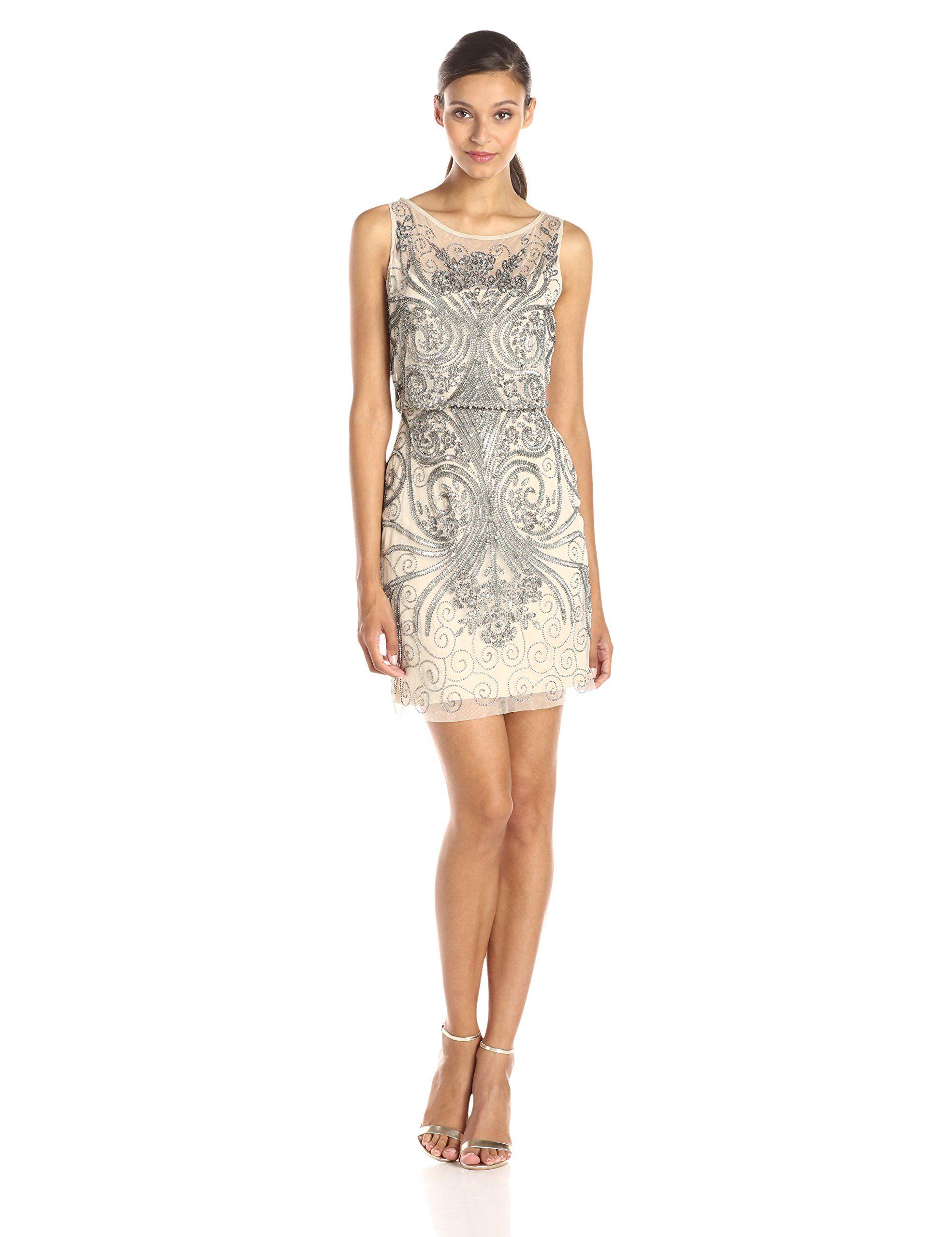 Adrianna Papell Women\'s Sleeveless Beaded Blouson Cocktail Dress ...