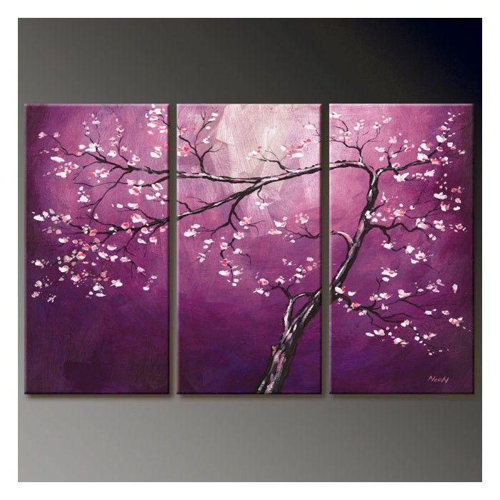 Tableau abstrait 3 l ments au ton violet tableau design painting pinterest tableau for Peinture gris violet