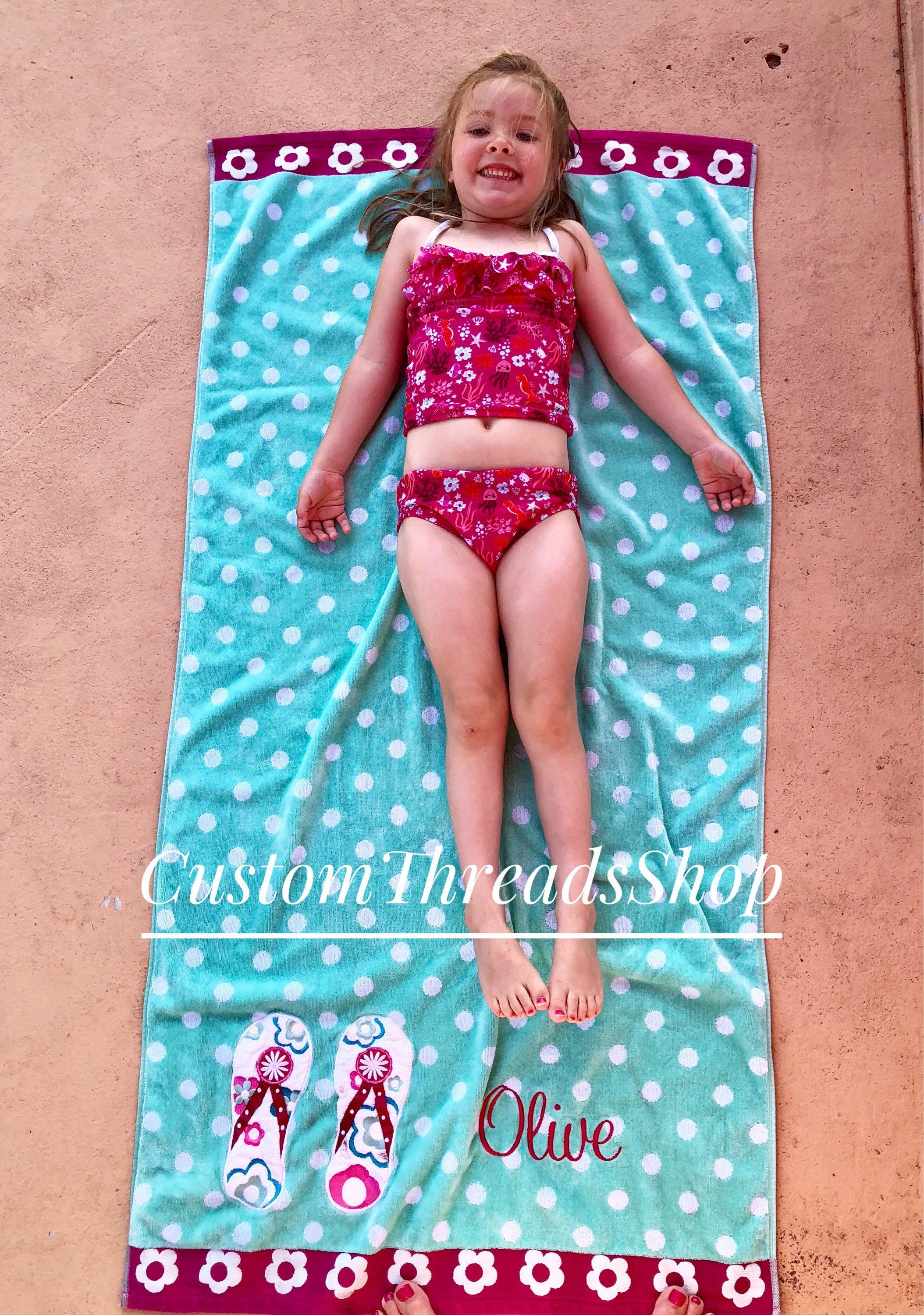 Personalized Kids Beach Towels Kids Birthday Gift For Girls
