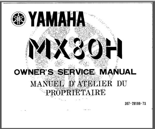 Yamaha Mx80 Mx 80 Service Repair Workshop Manual Pdf Download Manual Repair Pdf Download