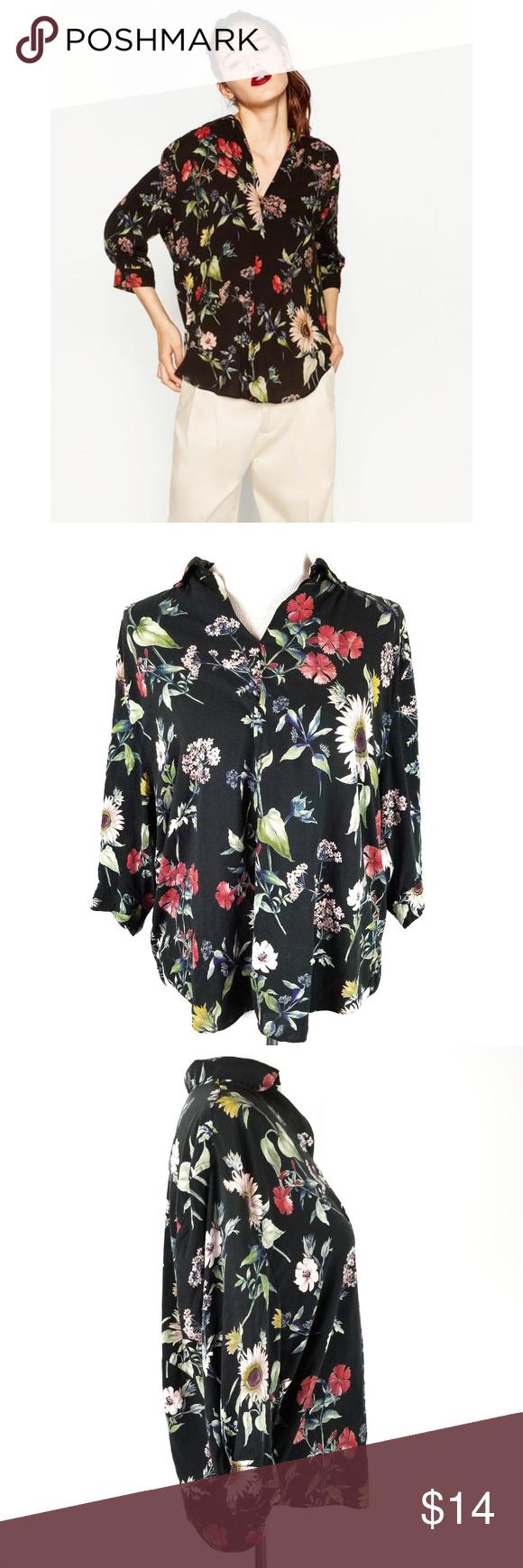 Floral print vintage 80s summer  black blouse Size L