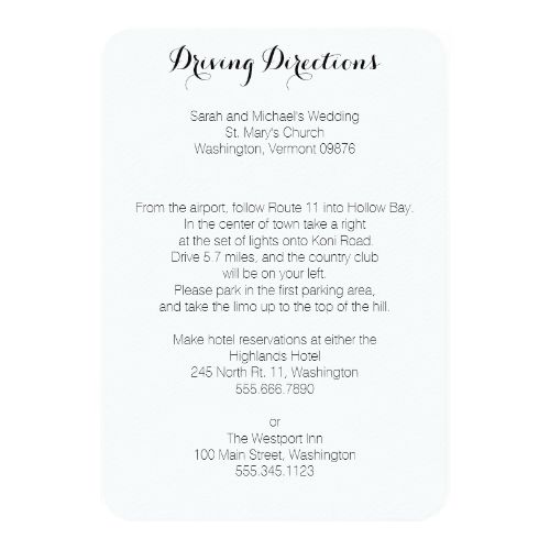 Simple Wedding Reception Driving Directions Enclosure Cards