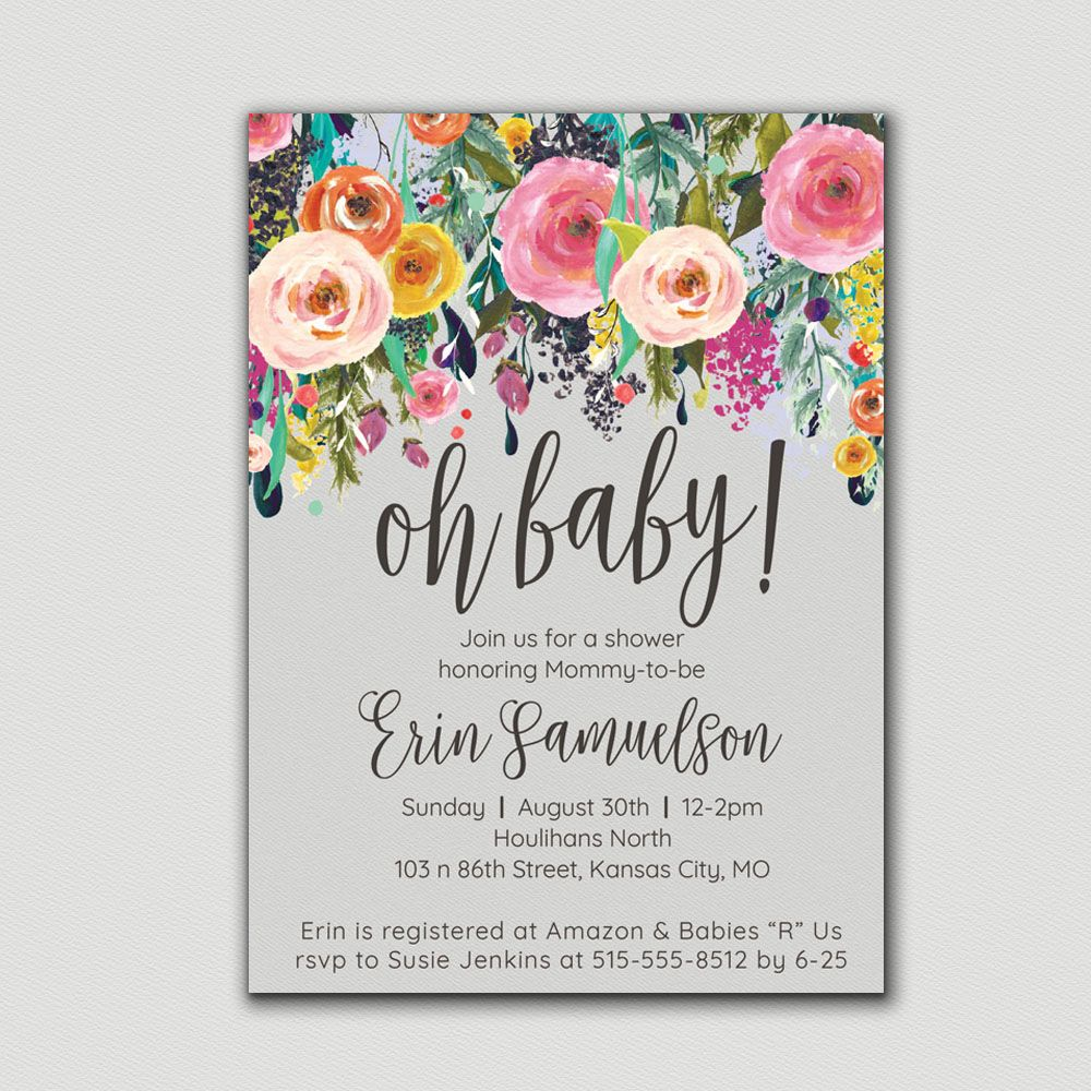This adorable, floral baby shower invitation features a vintage ...