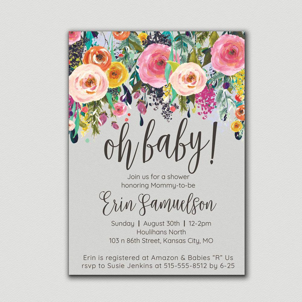 Baby Shower Invitation Floral Boho Baby Shower Baby Shower Invite ...