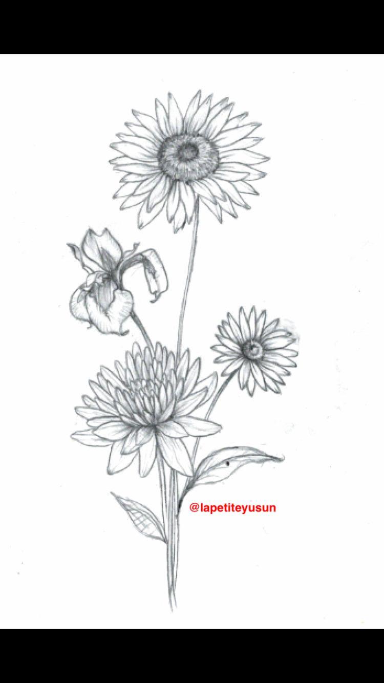 Tattoos Design For My Inner Bicep Tattoo Bicep Bouquet Flower Iris Sunflower Daisy Mum Daisy Tattoo Designs Iris Flower Tattoo Wildflower Tattoo