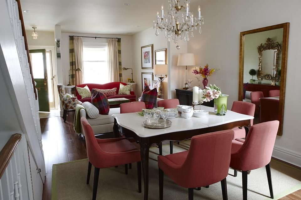 Lovely Sarah Richardson Sarah 101 Vibrant Living Room Dining Room Red Chairs Nice Design