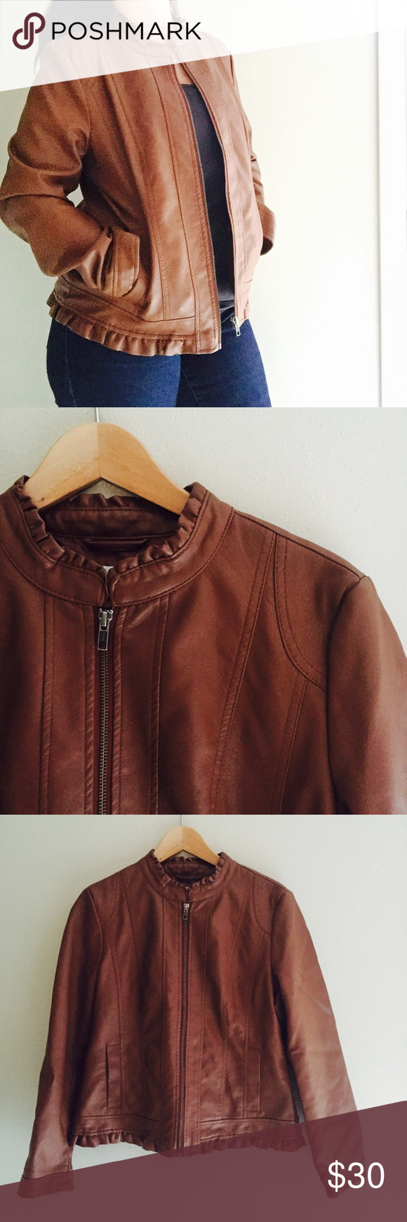 Final Price // Brown Faux Leather Jacket Ruffle Price drop💵💵💵This faux leather jacket by Christopher & Banks is gorgeous. Great quality and in excellent pre owned condition. Ruffle detailing at the neck and hem. Size M Christopher & Banks Jackets & Coats