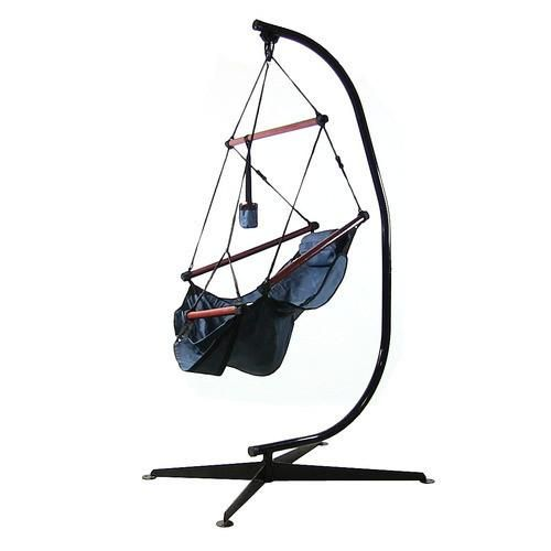 Hanging Hammock Chair With Pillow, Drink Holder U0026 C Stand   Blue