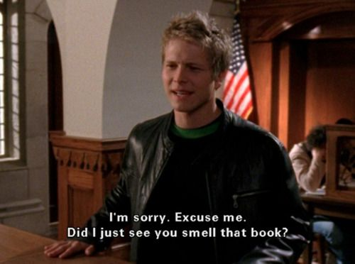 c151e8fe3f94 Did you just smell that book  His response to Rory way back when ...