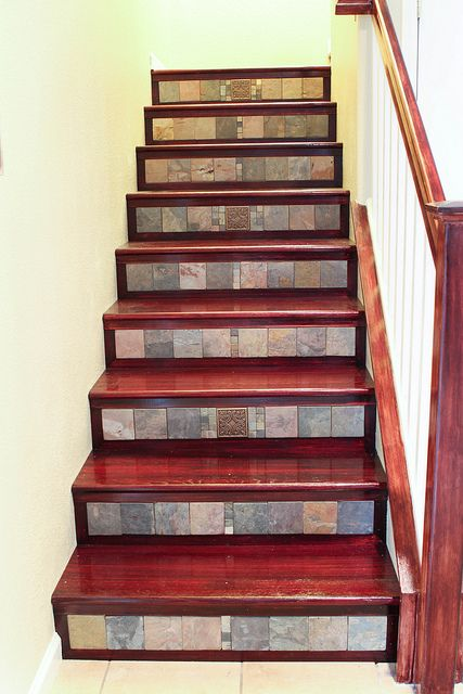 Tiles Add Texture And Interest To A Wooden Staircase