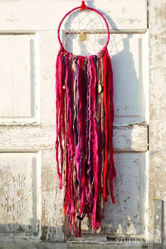 Bohemian Gypsy Dreamcatcher Red Hot Pink Fair Trade Hippie Native Ethnic Wall Hanging by Studio Yuki