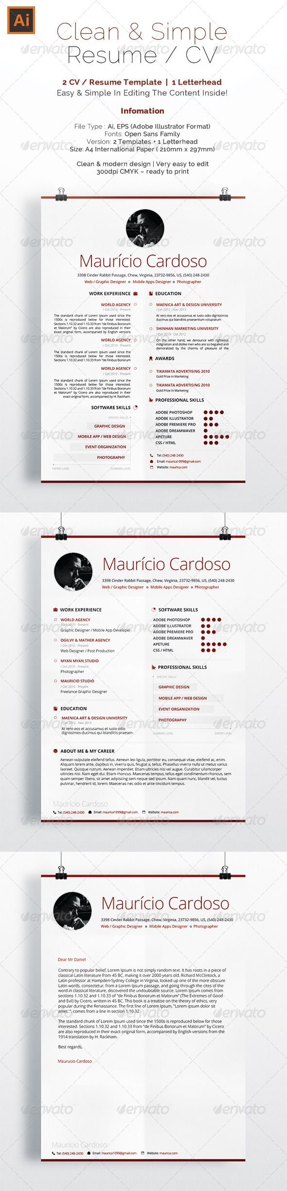 What Font To Use On Resume Simple & Clean Resume  Cv  Resume Cv Fonts And Simple Resume Template