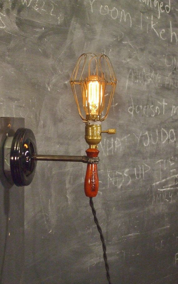 The Vintage Industrial Cage Light with Wall Mount  by DWVintage