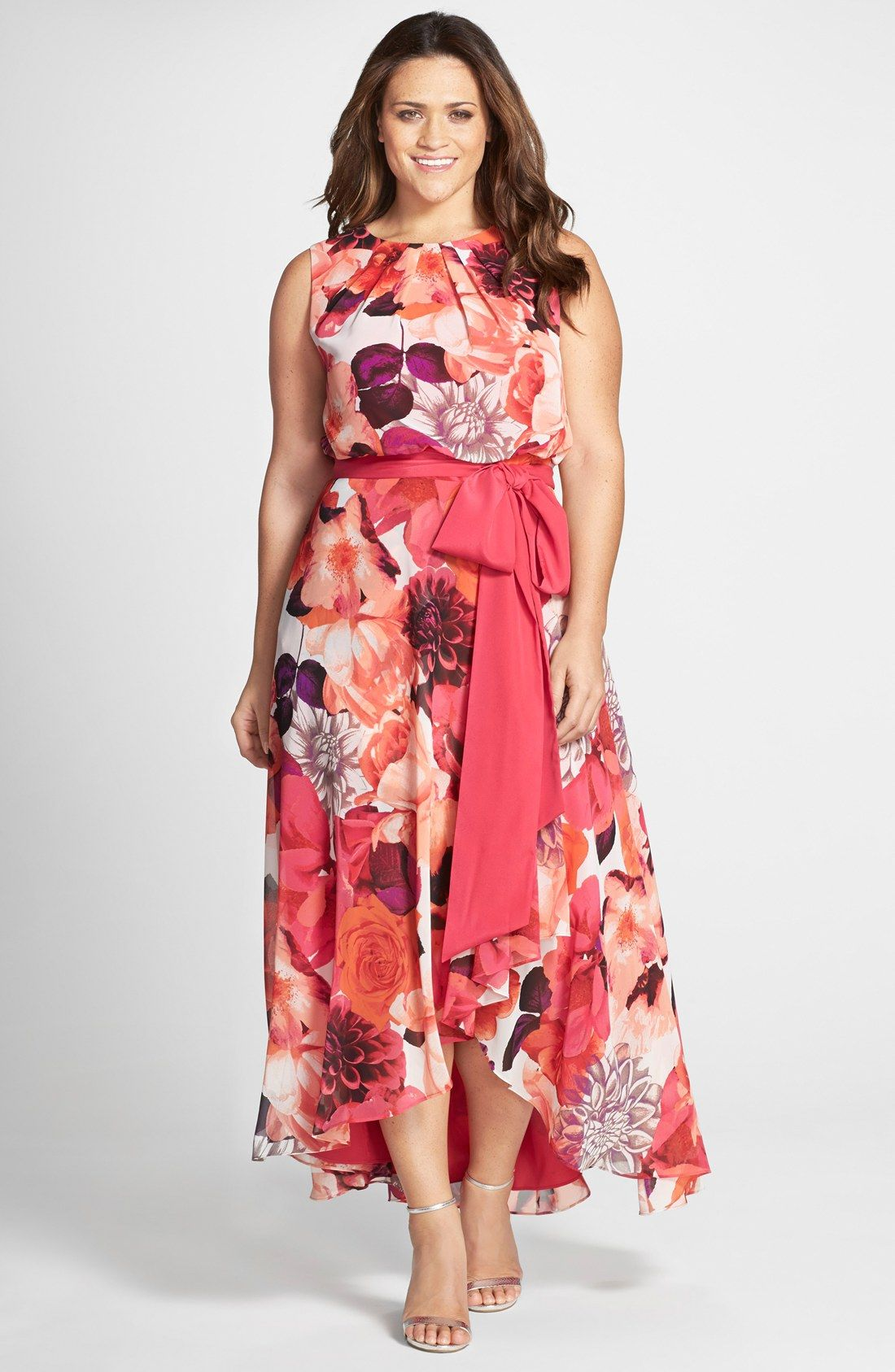 Eliza J Floral Print Sash Tie Sleeveless High/Low Hem Maxi Dress ...