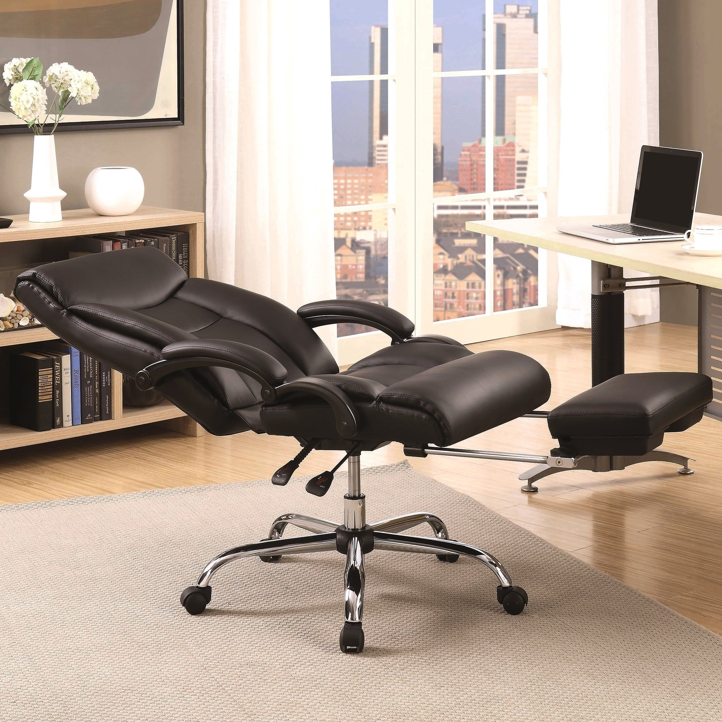Executive Adjustable Black Reclining Office Chair With Footrest And Chrome Base Black Reclining Office Chair Furniture Swivel Office Chair