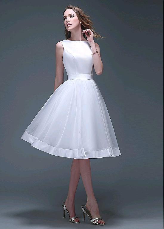 [113.39] Chic Satin & Organza Bateau Neckline Knee-length A-line Wedding Dresses - magbridal.com.cn