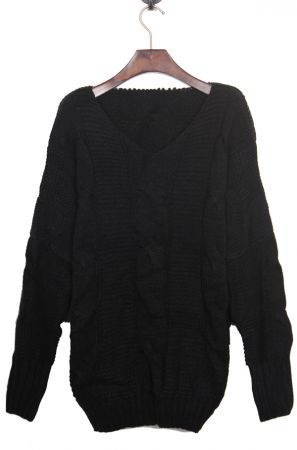 Black Batwing Long Sleeve V-neck Cable Sweater @Molly Dolan