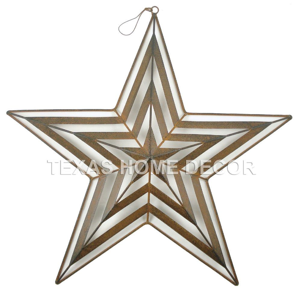 "Metal Star Wall Decor 15"" Metal Barn Star Layered Tin Rustic Brown Wall Décor Rustic"