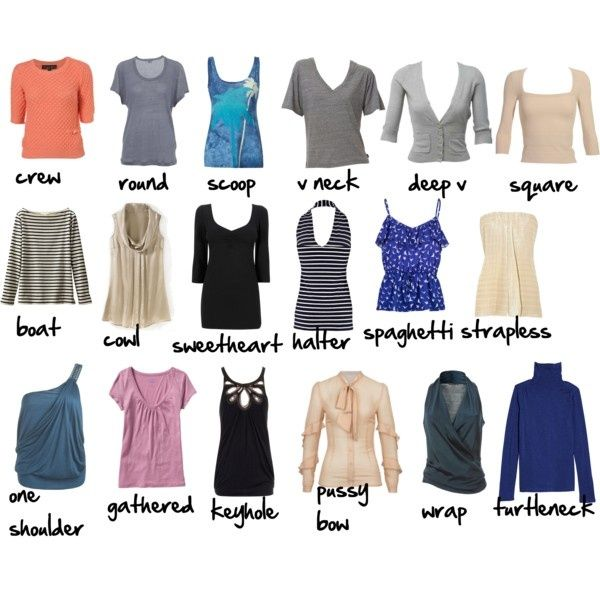 Blouses, tunics, empires, sweaters, t-shirts, button-downs and camisoles are common types of women tops; different features include: sleeve length, collar type, neckline and cut. Sleeve Length Sleeves can be long, three-quarter length, short or capped.