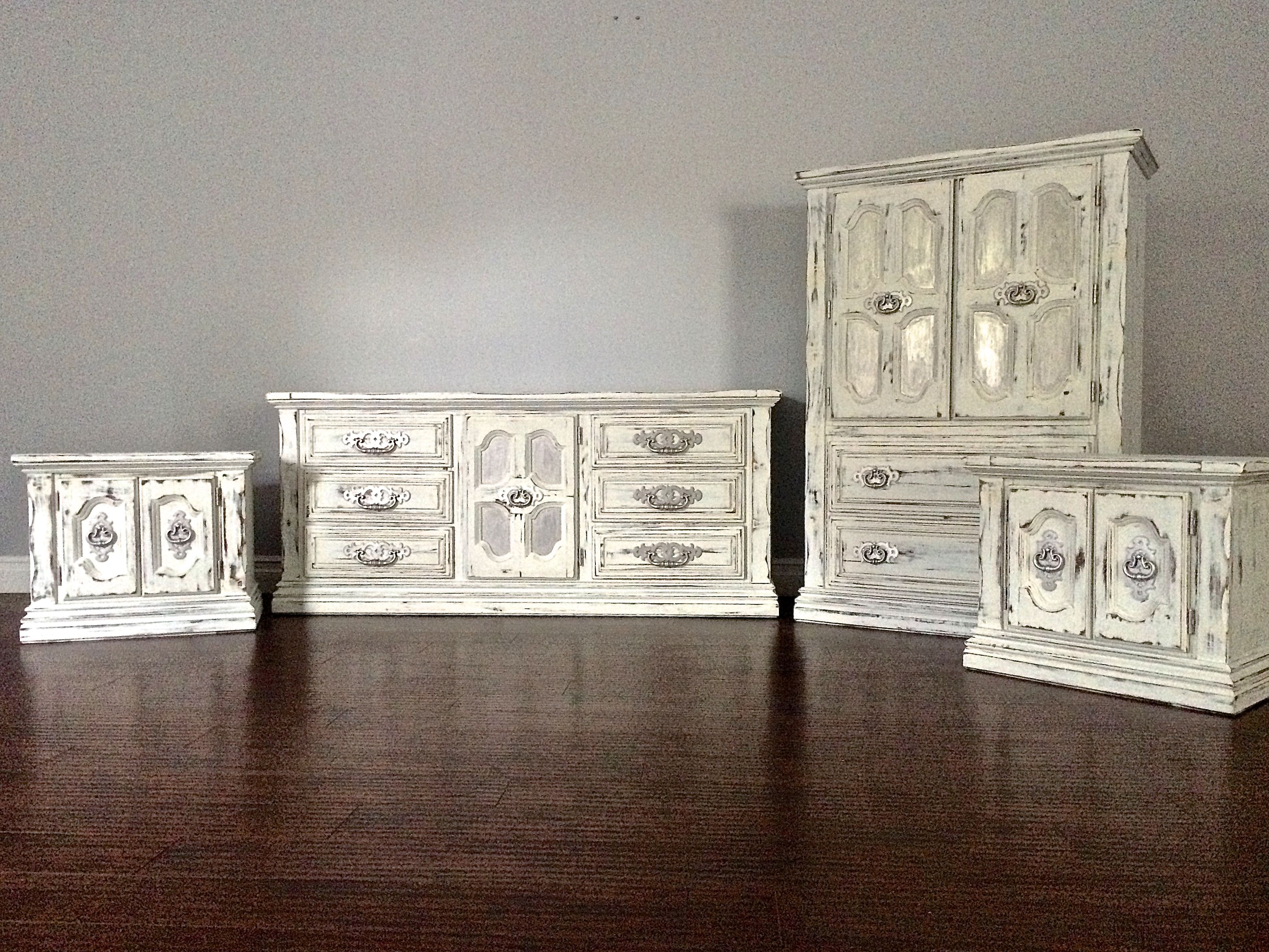 Shabby Chic Furniture Bedroom Shabby Chic Vintage Grey Gold Bedroom Set 9 Drawer Dresser 2