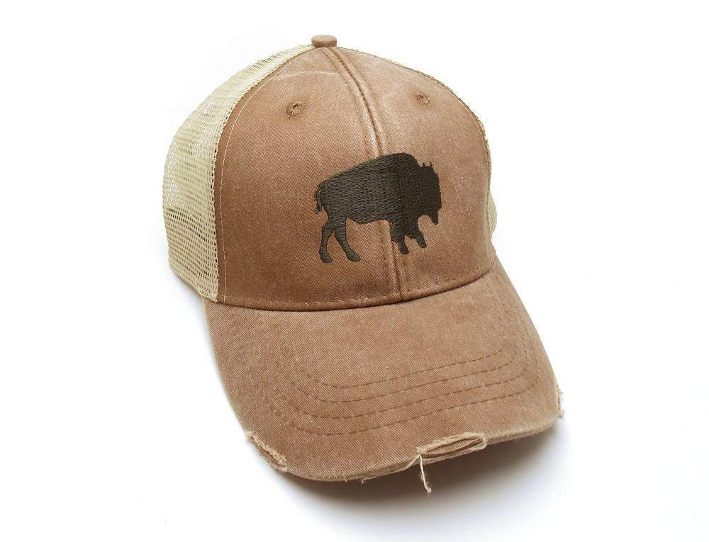 9edaf66d6b4 Trucker Hat - Buffalo Silhouette - Men s Distressed Mesh Backed Hat   Handmade  Trucker