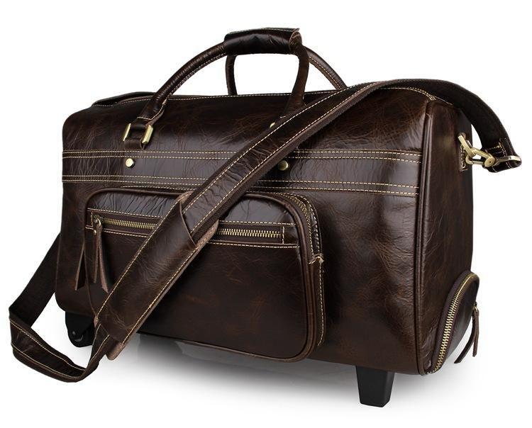 39a09e8630a8 Handmade Top Grain Leather Mens Duffle Bag Luggage Trolley Bags 7317C