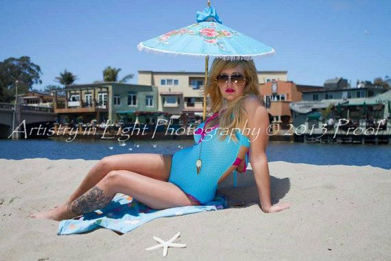 Retro Handmade Onepiece Swimsuit/ Blue polka dot/ by Lovebaggage, $179.00