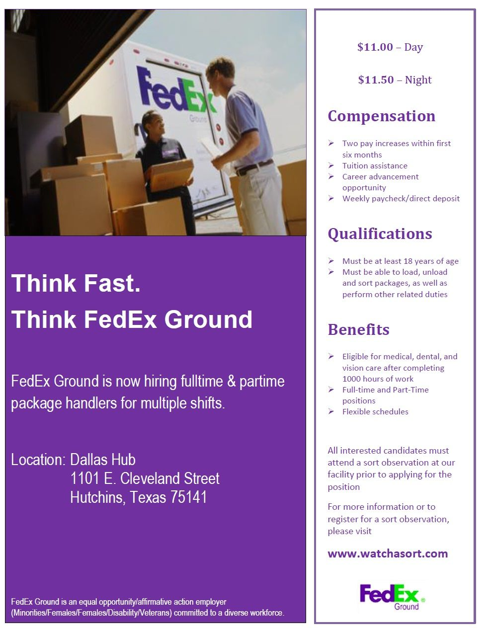 Fedex Ground Needs Package Handlers In Hutchins Tx Check Them