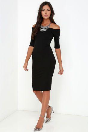d36b37fd5 Girl Can t Help It Black Off-The-Shoulder Midi Dress