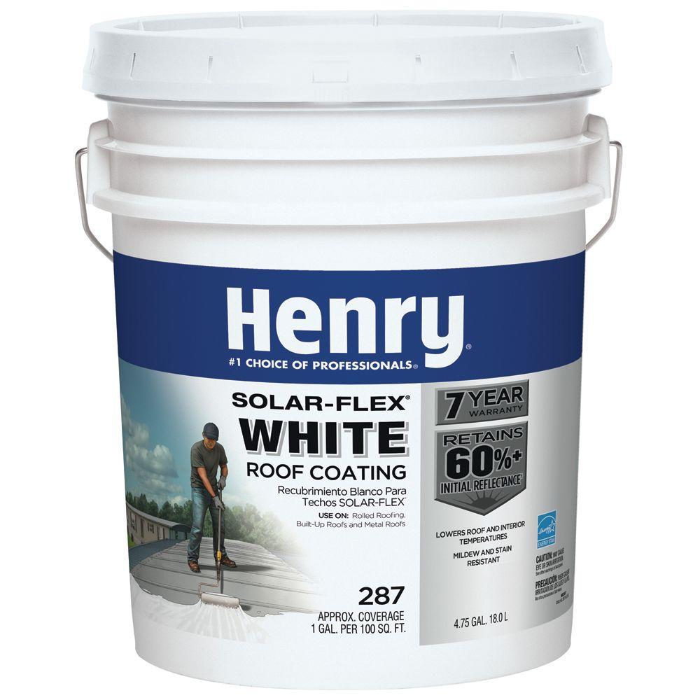 Henry 4 75 Gal Acrylic Reflective Elastomeric Roof Coating He287sf871 The Home Depot Elastomeric Roof Coating Roof Coating Roof Sealer