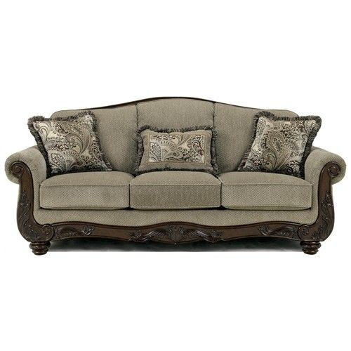 Signature Design by Ashley Fresco Traditional Camel Back Sofa with Exposed Wood  Trim - Rotmans -