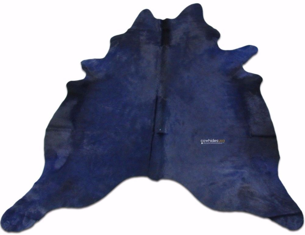 Navy Blue Cowhide Rug Size 7 X 6 Ft Dyed Cow Hide